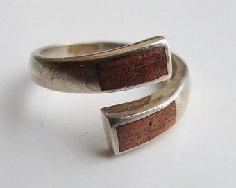 Vintage 925 Sterling Silver Double Brown Enamel Adjustable Ring