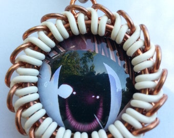 Anime Eye Pendant with Glass Cabochon and Chainmaille
