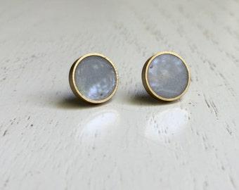 Gray Earrings. Stud Earrings.  Gray studs Titanium Hypoallergenic Studs  (#054)