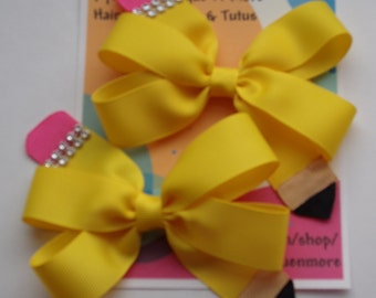 FREE SHIPPING!!! Back to school pinwheel hair bow/ yellow pencil hair bow/ Set of 2.