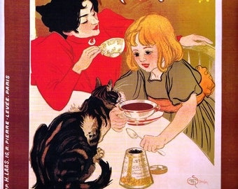Kitchen Vintage European French art  print picture of Chocolats Cie Francaise thes Cie Francaise Cat Kitten Perfect for the  Kitchen Wall