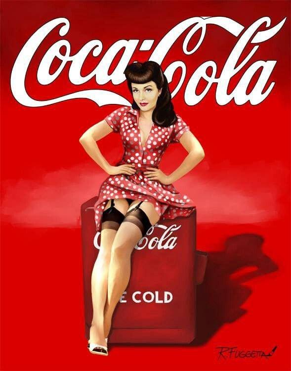 Vintage Coca Cola Pin Up Girl Nostalgia Reproduction