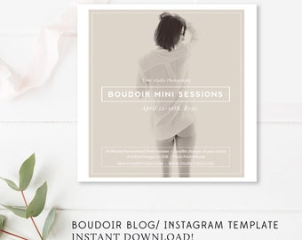 Boudoir Facebook Blog Instagram Template - Boudoir Marketing - Modern Marketing Templates - Photographer Templates - INSTANT DOWNLOAD