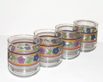 """Four (4) Vintage """"Crista"""" Flowered Beverage or Large Juice  Glasses - Vintage Crista Glassware, Vintage Glassware"""
