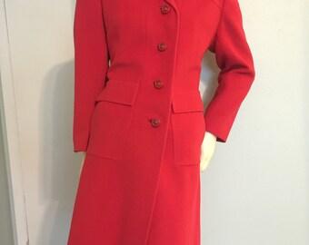 Pink Red Knee Length Fitted Cashmere Winter Coat Jacket Ultima Mr. Vincent