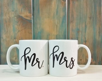 Mr and Mrs mugs, Mr Mrs mugs, his and hers mugs, 2 mugs, couple mugs, coffee mug, coffee cup, unique coffee mug