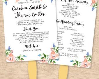 Custom Wedding Program - Peach Floral - Fan Wedding Program - DIY Printing - Digital PDF File