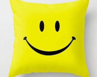 Smiley Face Pillow, Yellow Pillow, Decorative Pillow, Funny Pillow, Smile Pillow, Cute Pillow Case, Happy Pillow, 18x18