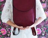 Leather backpack, backpack for women, burgundy bag, half moon bag, large leather backpack, back to school,