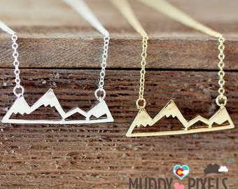 Tiny Colorado Snow Peak Mountain Pride Necklace