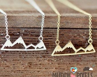 Tiny Colorado Snow Peak Mountain Pride Necklace