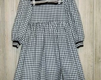 Vintage Girls Gingham Dress size 4 Long Sleeved Black White Sailor Velvet Collar Cuffs by Debut Traditional