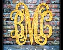 "24"" or 30"" Faux Gold Glitter Wall Monogram, Light PVC, Silver Initials, interlocking Monogram, Black Monogram, wall initials, Pink monogram"