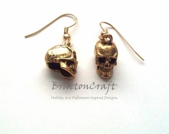 Gold Skull Earrings - Skull Earrings - Halloween Earrings - Day of the Dead - Halloween Jewelry - Skull Jewelry - Samhain