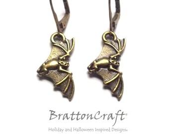 Gold Flying Vampire Bat Earrings - Halloween Earrings - Bat Earrings - Halloween Jewelry - Samhain - Epsteam