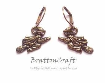 Flying Brass Witch Earrings - Halloween Earrings - Halloween Jewelry - Witch Earrings - Witch Jewelry -Epsteam