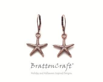 Copper Sea Star Earrings - Copper Starfish Earrings - Sea Star Earrings - Copper Beach Earrings - Ocean Earrings - Fromia monilis
