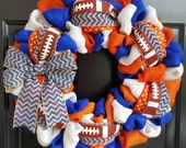 Fall Burlap Wreath, Florida Wreath, Blue, Gators Wreath, Orange, and White Burlap Wreath, with Blue Chevron Ribbon and Bow