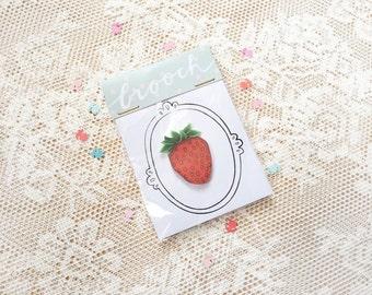 Strawberry pin   shrink plastic brooch, hand drawn