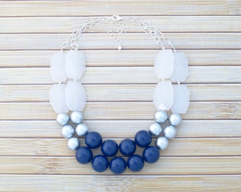 Navy Blue & Silver Statement Necklace - Multi Strand Beaded Necklace - Double Strand Bib Contemporary Bubble Gum Necklace - Statement Choker