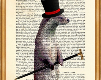 OTTER Gentleman, Otter with a top hat DICTIONARY PRINT on Vintage Dictionary Page 8'' x 10'' from up-cycled book