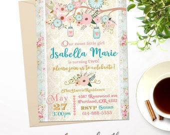 Shabby Chic Flowers and Mason Jars with Hearts Any Age Birthday Party Girls Invitation // Custom Printable // #3892016B