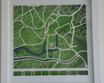 Bristol Laser cut map - White