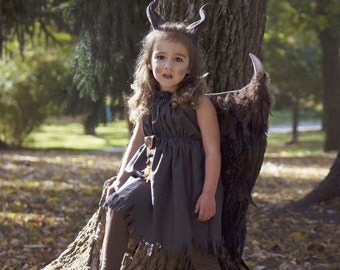 Choose your Options Young Maleficent Inspired costume Wings, Horns  3D Printed Dress and Accessories girls size 2T-14