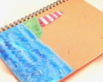 Nautical Lighthouse Notebook/Hand Painted Journal/ Journal & Notebooks / Paper Goods /Stocking Filler /Gifts for Everyone /Stationery