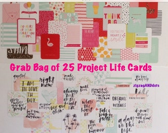 Project Life Cards, Pack of 25 Random Cards, Sizes 3x4 and 4x6, Grab Bag of Various Journaling Cards, Scrapbooking, Project Life