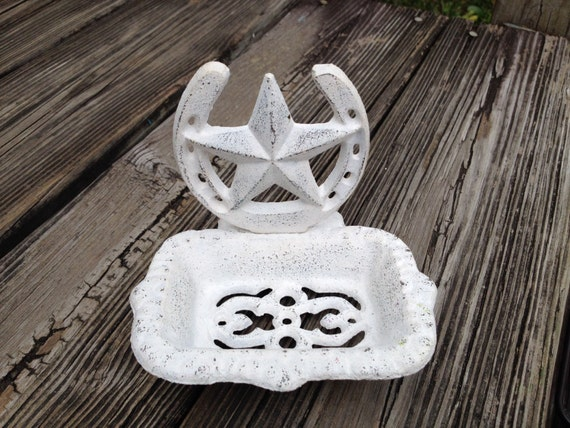 Rustic Western Star Soap Dish White Country Cast Iron Bathroom
