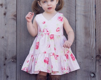 Girls Ruffle Dress / Girls Floral Dress / Toddler Floral Dress / Girls Pink Floral Dress