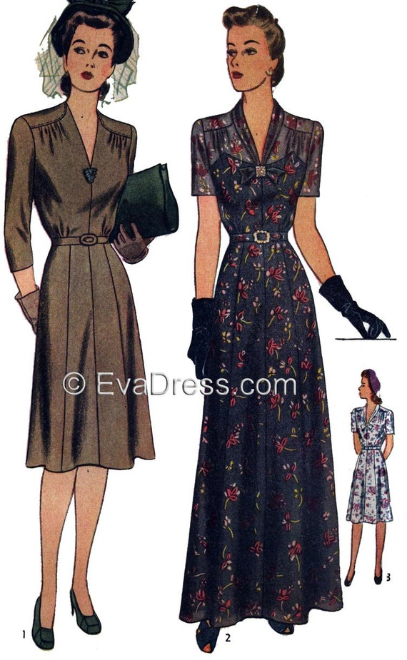 1940s Sewing Patterns – Dresses, Overalls, Lingerie etc 1943 Day or Evening Dress & Turban Pattern by EvaDress!1943 Day or Evening Dress & Turban Pattern by EvaDress! $18.00 AT vintagedancer.com