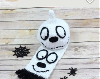 Crochet Ghost Hat and Scarf Set, Halloween