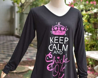 Keep Calm and shake it off white and pink version on tunic dress
