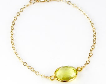 Delicate Lemon Yellow Quartz Oval Gemstone Bracelet Single Stone Dainty Gold Chain