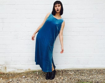 1980's Cerulean Velvet Tank Top Maxi Dress