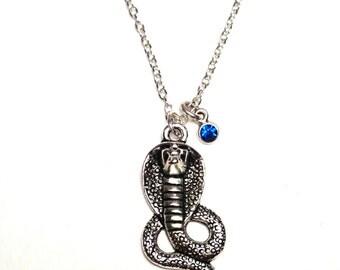 Cobra Necklace, Cobra Jewelry, Cobra Charm, Cobra Pendant, Snake Jewelry, Cobra Snake Necklace, Snake Lover Gifts, Skull cobra jewelry