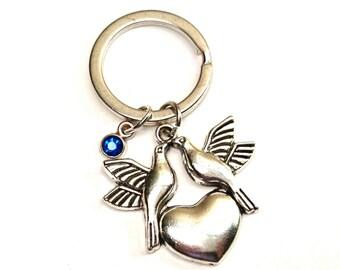 Love Bird Keychain, Custom Keychain, Custom Key Ring, Love Bird Pendant, Love Bird Charm, Love Bird Jewelry, Bird Keychain, Bird Jewelry