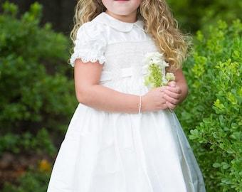 Smocked Heirloom Holiday Dress - Ivory Flower Girls Dress