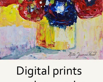 Digital Print. Red & Blue Yellow Abstract Flower Painting. Floral Art. Romantic Roses. Gift for Her. 264