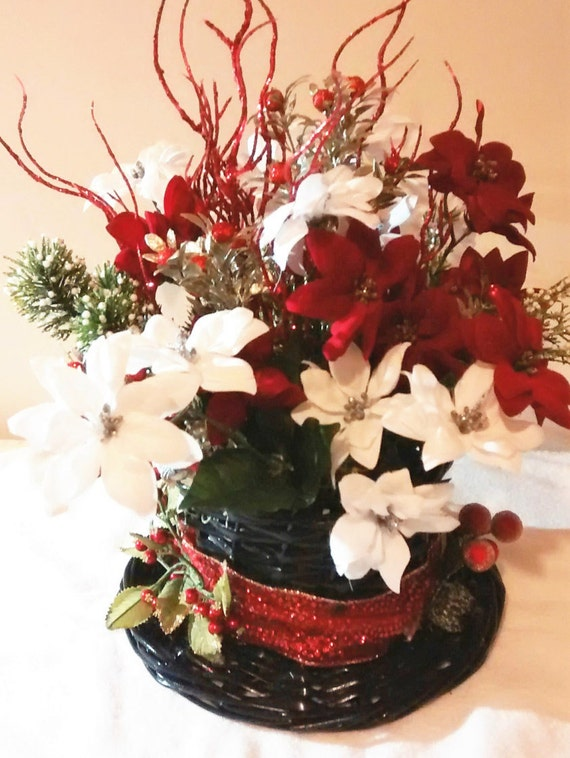Wicker snowman hat floral arrangement red white poinsettia