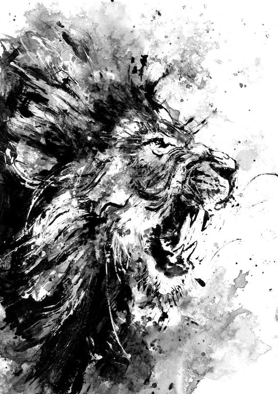 Lion peinture acrylique originale noir et blanc art art de for Art minimaliste noir et blanc