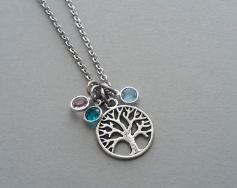 Family Tree Necklace, Family Tree Charm Necklace, Family Tree Jewelry, Tree Of Life, Birthstone Necklace, Mom Necklace, Stainless Steel