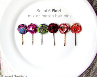 6 Fall Flannel Fabric Plaid Shirt Women Hair Pin Bridesmaid Set, Black Red Buffalo Check hair Clip Bobby Pins, Autumn Lumberjack Girl, Lace