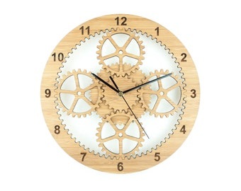 Wooden Gear Clock, Unique Wall Clock, Industrial Wall clock, Cog Clock, Wedding Present, 5th Anniversary, Gift for him, Gifts for Dads