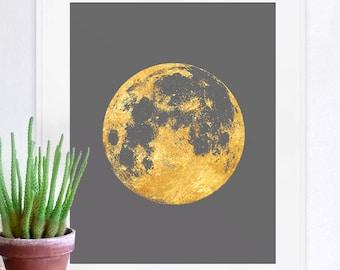 moon print, moon art, moon poster, full moon, gold print, celestial art, wall decor, home decor, gold moon print, moon posters, space poster
