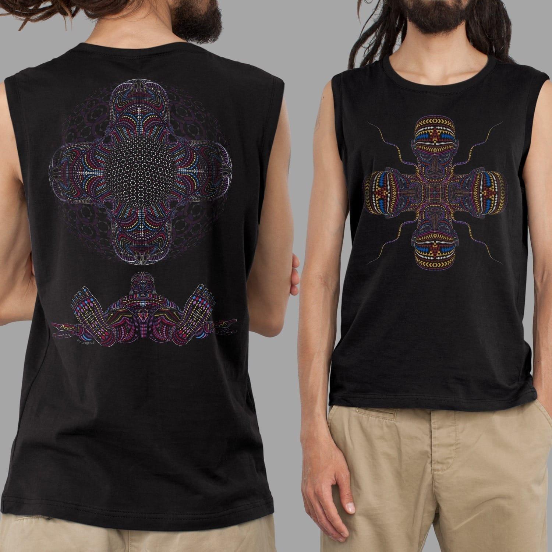 Men Visionary Art Tank Black DMT Ayahuasca Clothing UV