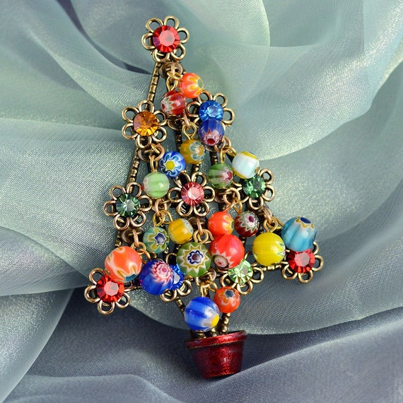 Christmas Tree Pin Christmas Brooch Christmas Jewelry