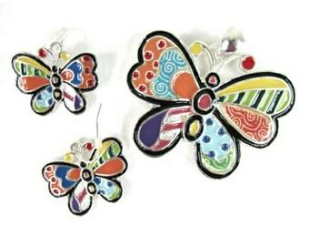 Butterfly Pendant & Earrings Set